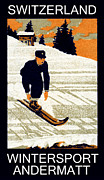 Ski Art Posters - 1910 Wintersport Andermatt Poster by Historic Image