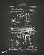 1911 Automatic Firearm Patent Artwork - Gray Print by Nikki Marie Smith