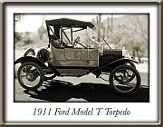 Ford Model T Car Posters - 1911 Ford Model T Torpedo Poster by Jill Reger
