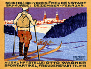 Skiing Poster Paintings - 1911 Swiss Ski School Poster by Historic Image