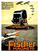 Fischer Boat Posters - 1913 - Fischer Magneto German Advertisement Poster - Color Poster by John Madison