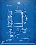 1914 Beer Stein Patent Artwork - Blueprint Print by Nikki Marie Smith