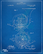 Den Posters - 1914 French Horn Patent Blueprint Poster by Nikki Marie Smith
