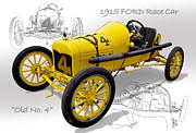 Indy Car Prints - 1915 Ford Indy Race Car Print by Tad Gage