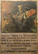 Wwi Drawings Originals - 1917 Original French WWI War Bond Poster - Debout Dans La Tranchee by Lieutenant Jean Droit