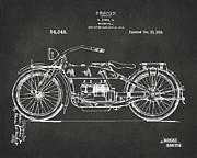 Nikki Marie Smith - 1919 Motorcycle Patent Artwork - Gray