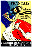 Manufacturing Painting Posters - 1920 Buy French Products Poster by Historic Image