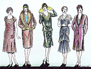 Earrings Drawings - 1920s Fashions by Mel Thompson