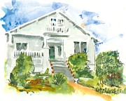 American Home Paintings - 1920s House Architecture by Kathleen McElwaine