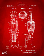 1921 Explosive Missle Patent Red Print by Nikki Marie Smith