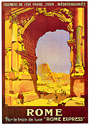 Winter Travel Mixed Media Posters - 1921 Rome - Vintage Travel Art Poster by Presented By American Classic Art