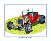 Pen And Ink Framed Prints Drawings Posters - 1923 Ford T Bucket Poster by Jack Pumphrey