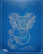 Independence Prints - 1923 Harley Davidson Engine Patent Artwork - Blueprint Print by Nikki Smith
