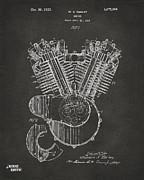 Nikki Marie Smith - 1923 Harley Engine Patent Art - Gray