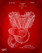 Nikki Marie Smith - 1923 Harley Engine Patent Art Red