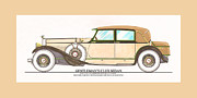 Classic Car Art Drawings - 1923 Hispano Suiza Club Sedan by R.H.Dietrich by Jack Pumphrey