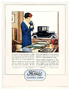 Ford Tudor Framed Prints - 1924 - Ford Tudor Sedan Automobile Advertisement - Color Framed Print by John Madison