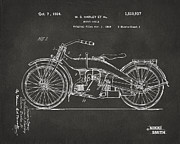 Nikki Marie Smith - 1924 Harley Motorcycle Patent Artwork - Gray