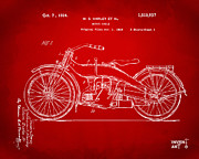 Nikki Marie Smith - 1924 Harley Motorcycle Patent Artwork Red