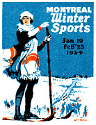 Skiing Poster Framed Prints - 1924 Montreal Winter Sports Poster Framed Print by Historic Image