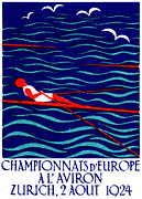 Swiss Art Paintings - 1924 Zurich Rowing Poster by Historic Image