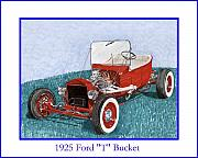 Net Drawings Prints - 1925 Ford Hot Rod T-Bucket Print by Jack Pumphrey