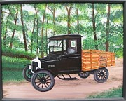 Model T Ford Paintings - 1925 model T Ford by Lorraine Bradford