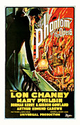 Featured Mixed Media Prints - 1925 The Phantom of the Opera Vintage Movie Poster Print by Presented By American Classic Art