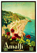 Winter Travel Mixed Media Posters - 1927 Amalfi Italy Vintage Travel Art Poster by Presented By American Classic Art