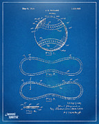 Ball Room Posters - 1928 Baseball Patent Artwork - Blueprint Poster by Nikki Smith