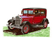 Door Drawings Posters - 1928 Ford model A two door Poster by Jack Pumphrey