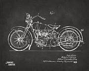 Nikki Marie Smith - 1928 Harley Motorcycle Patent Artwork - Gray