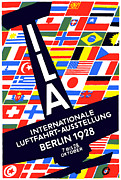 Berlin Germany Painting Posters - 1928 International Air Show Poster by Historic Image