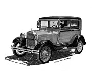 Door Drawings Posters - 1928 Model A Ford 2 door Sedan Poster by Jack Pumphrey