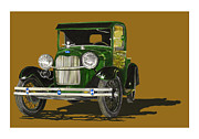 Old Trucks Paintings - 1928 Model A Pick Up Truck by Jack Pumphrey
