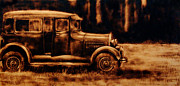 Ford Model T Car Painting Posters - 1929 - Burnt wood deep etching of an antique car Poster by Kanayo Ede