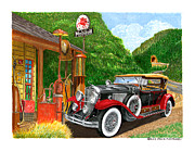 Pumps Painting Prints - 1929 Cadillac Dual Cowl Phaeton and Pegasus Print by Jack Pumphrey