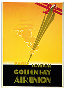 Air Travel Mixed Media Prints - 1929 GOLDEN RAY - Vintage Travel Art Print by Presented By American Classic Art