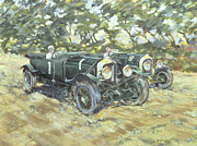 Greenish Posters - 1929 Le Mans Winning Bentleys Poster by Clive Metcalfe