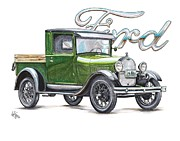 Truck Drawings Framed Prints - 1929 Model A Ford Truck Framed Print by Shannon Watts