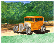 Street Rod Paintings - 1929 Model A in a pecan grove by Jack Pumphrey