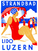 Swiss Art Paintings - 1929 Strandbad Lido Beach by Historic Image