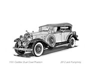 Pen And Ink Framed Prints Prints - 1930 Cadillac Phaeton Print by Jack Pumphrey