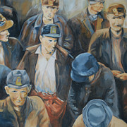Miners Paintings - 1930 Coal Miners by Patricia Cotterill