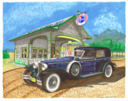 Auburn Paintings - 1930 Cord L Towncar by Jack Pumphrey