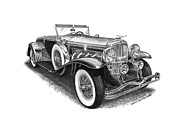 Black And White Prints Drawings Prints - 1930 Duesenberg Model J Print by Jack Pumphrey