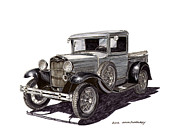 Custom Ford Drawings Metal Prints - 1930 Ford Model A Pick Up Metal Print by Jack Pumphrey