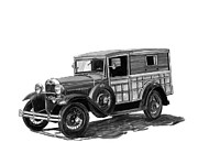 Framed Prints Drawings Prints - 1930 Ford Special Delivery Print by Jack Pumphrey
