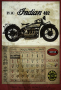 Motor Digital Art Prints - 1930 Indian 402 Print by Cinema Photography