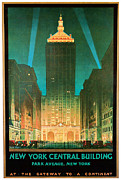 Winter Travel Mixed Media Posters - 1930 New York Central Building - Vintage Travel Art Poster by Presented By American Classic Art